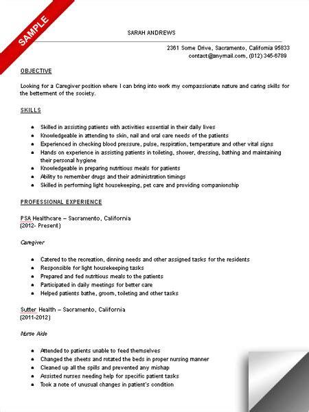 caregiver resume samples visualcv resume samples database