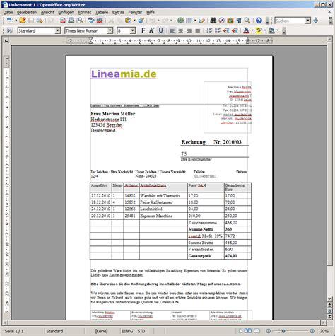 Rechnungsvorlage Calc Rechnungsvorlage F 252 R Openoffice Gratis Zum