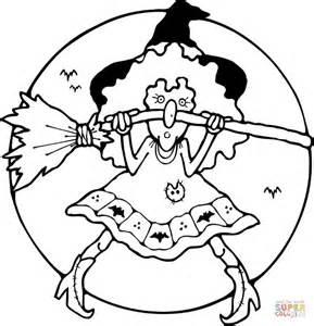 scary witch coloring page dibujo de bruja con su escoba para colorear dibujos para