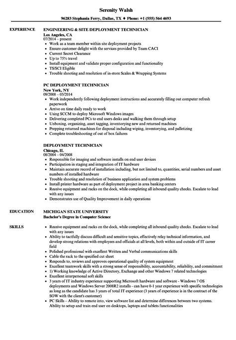 deployment technician resume sles velvet
