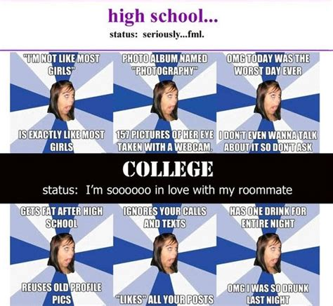 High School Girl Meme - afg in high school and college annoying facebook girl