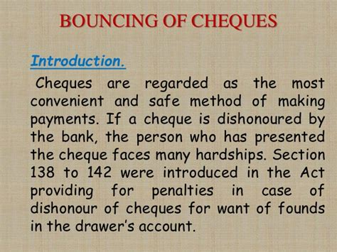 Section 138 Cheque Bounce by Dishonour Of A Negotiable Instrument