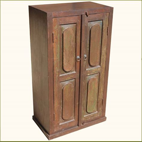 Rustic Wooden 2 Door Storage Primitive Armoire Wardrobe 2 Door Wardrobe Closet