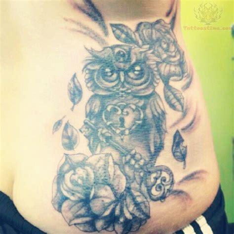 owl tattoo ribs owl with key tattoo on side rib