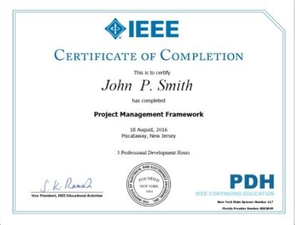 Ieee Ieee Certificates Program Pdh Certificate Template