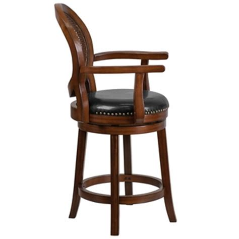 leather bar stools with arms 26 high expresso wood counter height stool with arms and
