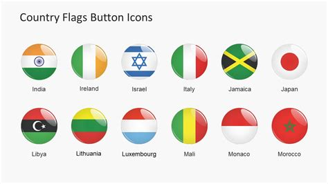 Country Flags Button Icons Powerpoint Shapes Slidemodel Flags Of The World Powerpoint