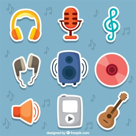 printable music stickers cute music stickers vector free download