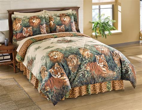 jungle bedding set comforter set cheetah tiger jungle bed king bedskirt shams ebay