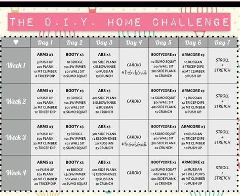 30 day home workout plan fit girls guide the diy home challenge guide