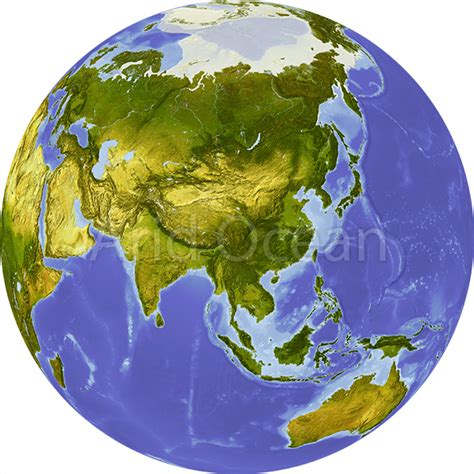 globe map of asia globe shaded relief centered on asia aridocean