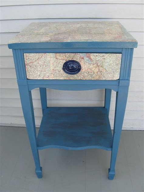 Decoupage Furniture With Maps - decoupage recycled maps side table stand painted