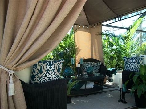 patio pizazz beautiful beach burlap indoor outdoor patio gazebo drapes ebay