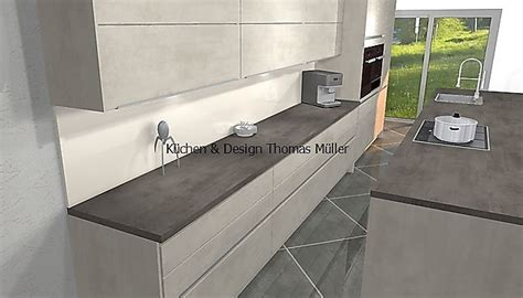 nobilia musterkueche grifflose beton kueche  weissbeton mit