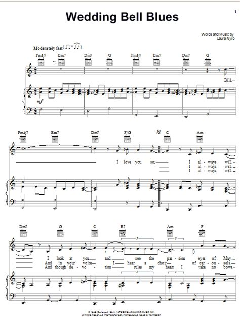 Wedding Bell Blues Chords wedding bell blues sheet by nyro piano vocal