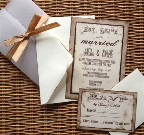 handmade wedding invitationrustic invite rsvp envelopes