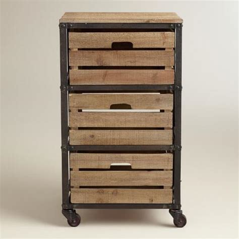 metal and wood 3 drawer josef rolling cart world market