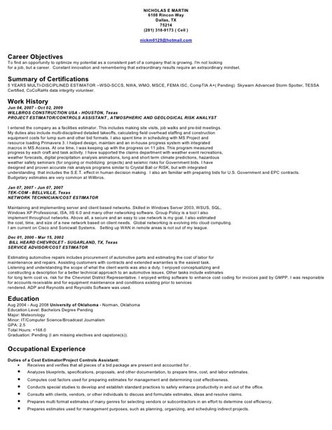 Construction Estimator Resume Sle by Nick Martin Resume Estimator