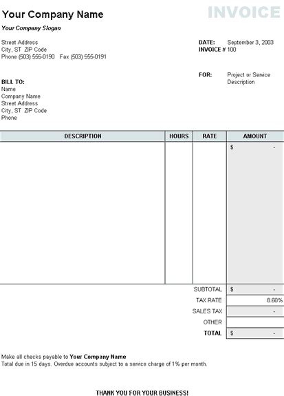 tax invoice template download free invoice template