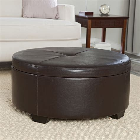 Belham Living Corbett Coffee Table Storage Ottoman Round