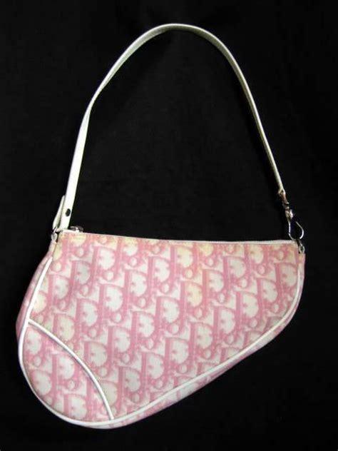 christian dior pinkwhite monogram small saddle bag