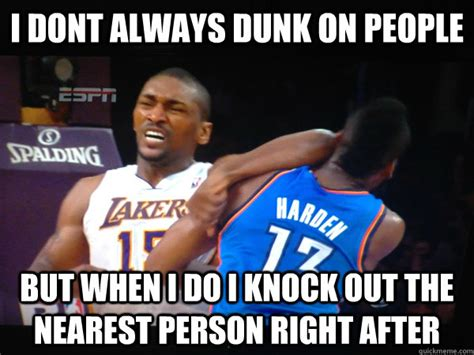 Ron Artest Meme - changes last name to world peace violently attacks players