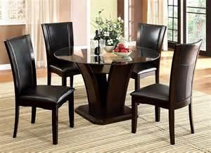 Round Glass Dining Room Table Sets by Manhattan Round Glass Top Dark Cherry Unique Pedestal Base
