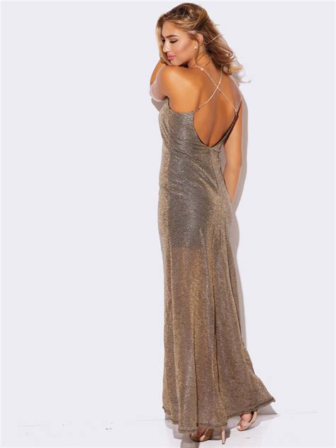 Hosting Cocktail Party - gold metallic mesh formal dress modishonline com