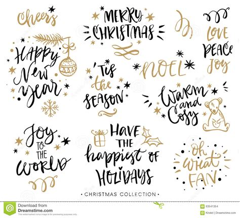 christmas calligraphy phrases hand drawn design elements stock vector image