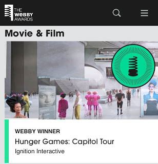 welcome to district 12: the hunger games wins webby awards!