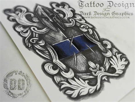 warrior shield crest tattoo design speed drawing youtube
