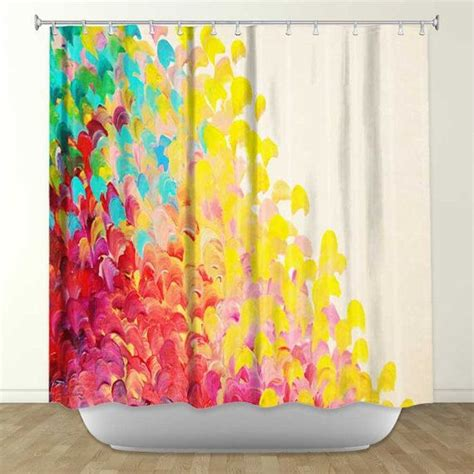 Colorful Shower Curtains Creation In Color Painting Shower Curtain Washable Floral Ho
