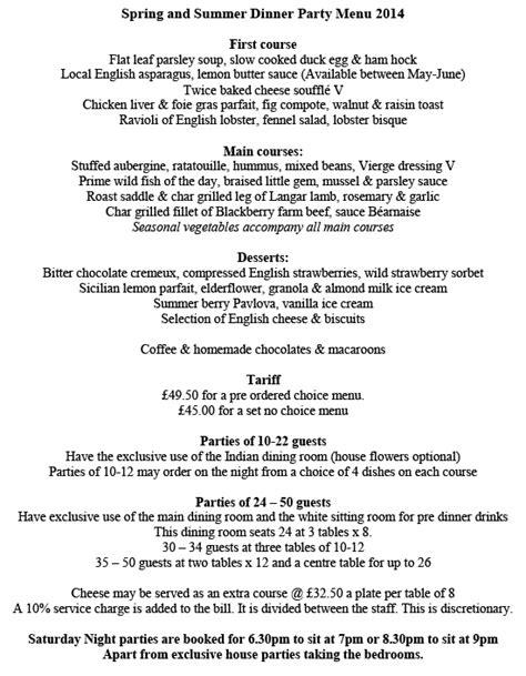 summer dinner menu menus summer dinner menu
