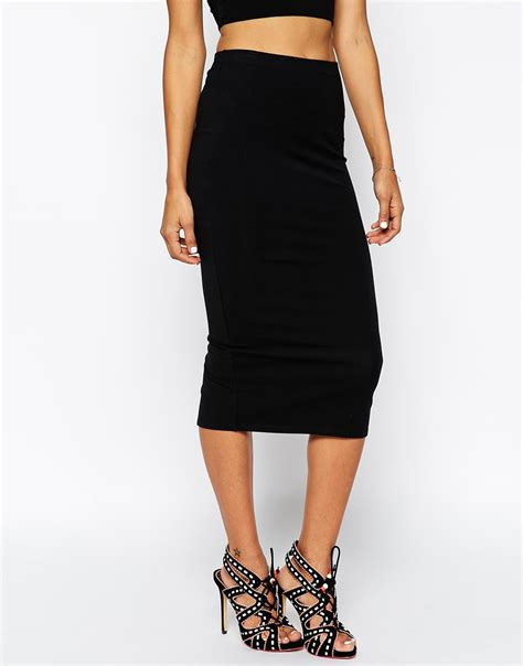 asos midi pencil skirt in jersey in black lyst