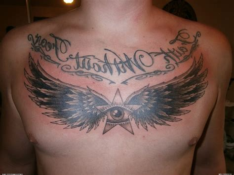 wings chest tattoo wings images designs