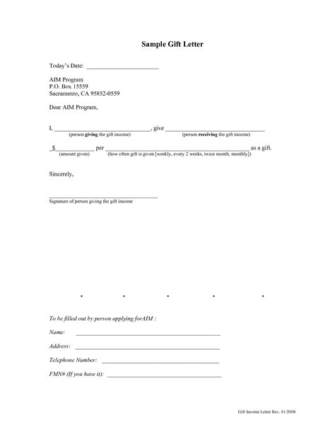 Mortgage Gift Letter Form Gift Letter For Mortgage Template Rapidimg Org