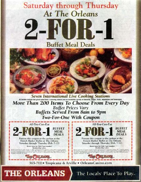 coupons for buffets in las vegas enjoy 2 for 1 buffet specials at the orleans hotel through february 2009 vegas deals coupons
