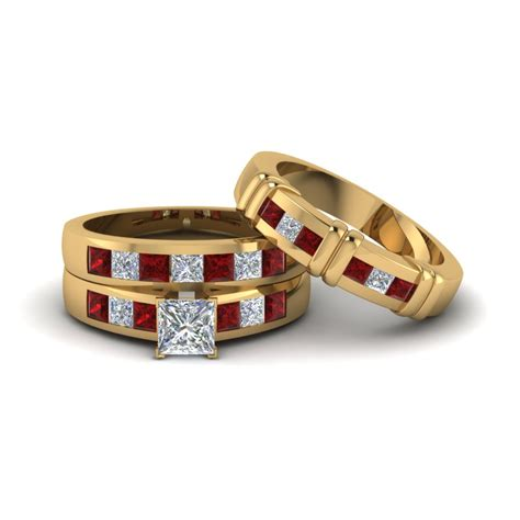 Matching Him And Princess Cut Trio Matching Ring For Him And