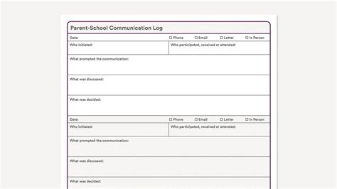 Free Parent Communication Log Template