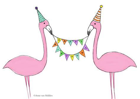 Happy Birthday Pink Flamingo Beautiful Flamingo Birthday Card Midden Illustration