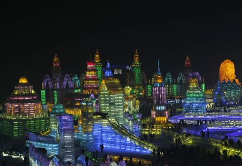 ice city ice and snow festival in china brings winter wonderland to