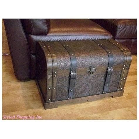 treasure chest ottoman antique victorian medium wood trunk wooden storage