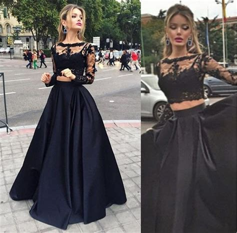 c section gown long sleeves black lace prom gowns high neck two pieces