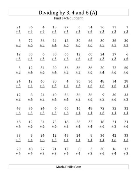 Divide Worksheets To Print by Dividing By 3 4 And 6 Quotients 1 To 12 A