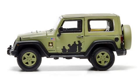 light green jeep greenlight diecast us army 2012 jeep wrangler top