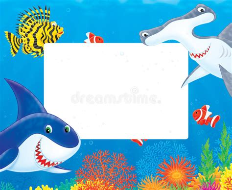 baby shark zumba free download sea frame with sharks and fishes stock illustration