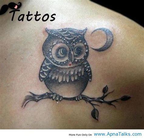 cute owl tattoo design cute owl tattoo owl tattoos with moon on shoulder back
