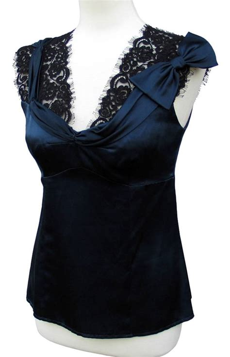Kain Satin Maxmara Royal Satin nanette lepore lapore navy blue charmed silk satin blouse