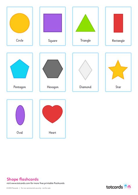 shape flash cards template free shape flashcards for totcards