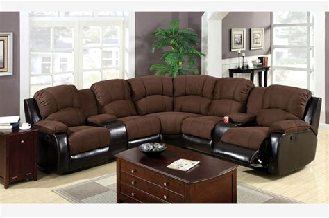 Microfiber Sectional With Recliner by F Traditional Brown Microfiber Leather Reclining Sectional